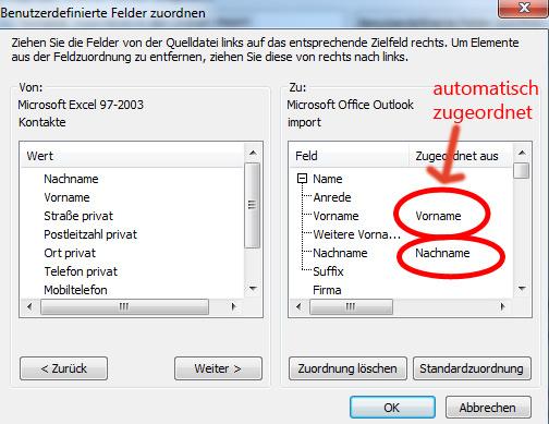 Excel Adress-/Telefonlisten in Outlook 2010/2007 importieren ...